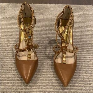 Michael Kors brown leather pumps with gold studs